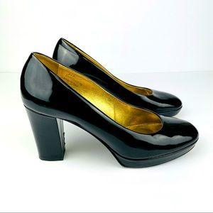 Coach Fern Patent Leather Chunky Block Heels